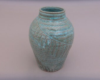Turquoise Pottery Vase - Small Handmade Turquoise and Terracotta Carved Vase