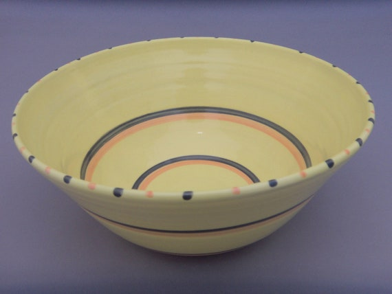 Yellow Pottery Bowl - Large Lemon Yellow Handmade Ceramic Bowl