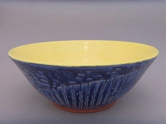 Large Handmade Earthenware Serving Bowl - Sun in the Sky - Yellow and Blue