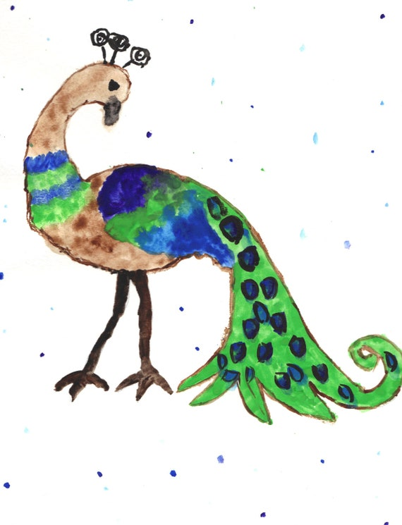 """Aid for Abby - Original Painting by Child with Multiple Disabilities - 9"""" x 12"""" - Peacock"""