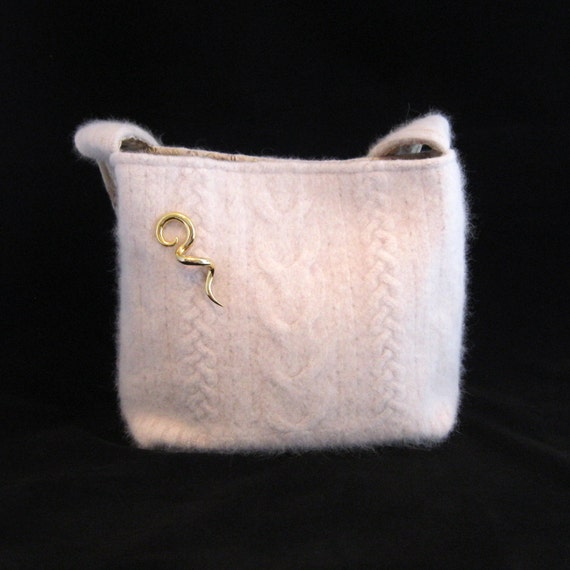 Felted cream cashmere wool purse (OOAK) from upcycled cabled sweater.