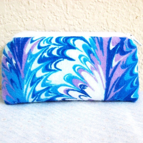 Blue, Purple & White Waves Flannel Padded Pipe Pouch 5.5""