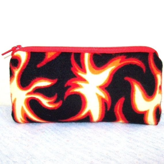 """Flames Flannel Padded Pipe Pouch 5.5"""" / Glass Pipe Case / Spoon Cozy / Piece Protector / Pipe Bag / SMALL"""