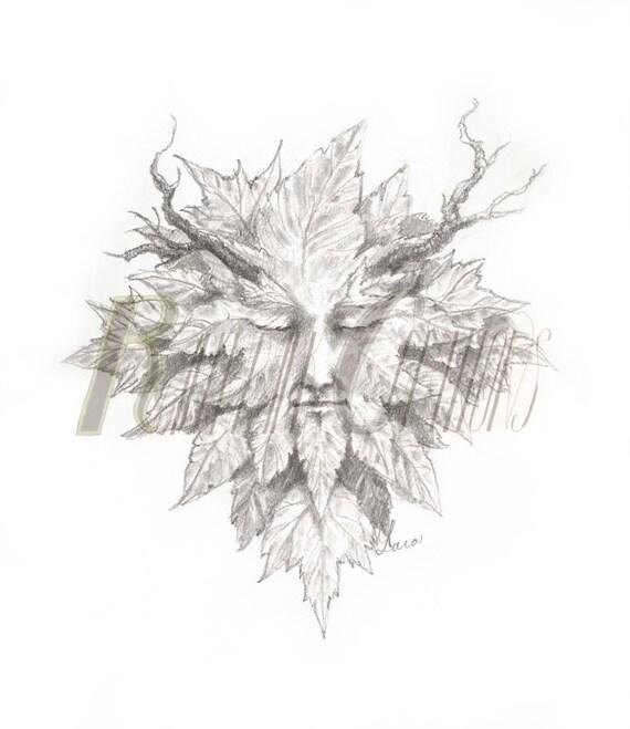 Green Man pencil drawing print fantasy ent tree