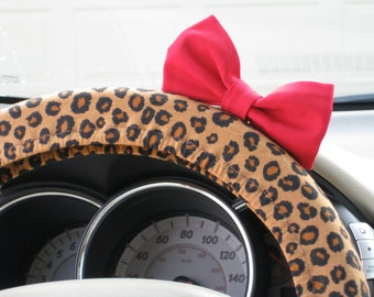 Steering Wheel Cover Bow, Cheetah Steering Wheel Cover with Red Bow BF11160