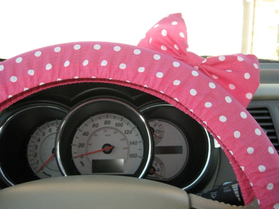 Steering Wheel Cover Bow, Pink Polka Dot Steering Wheel Cover with Bow BF11030