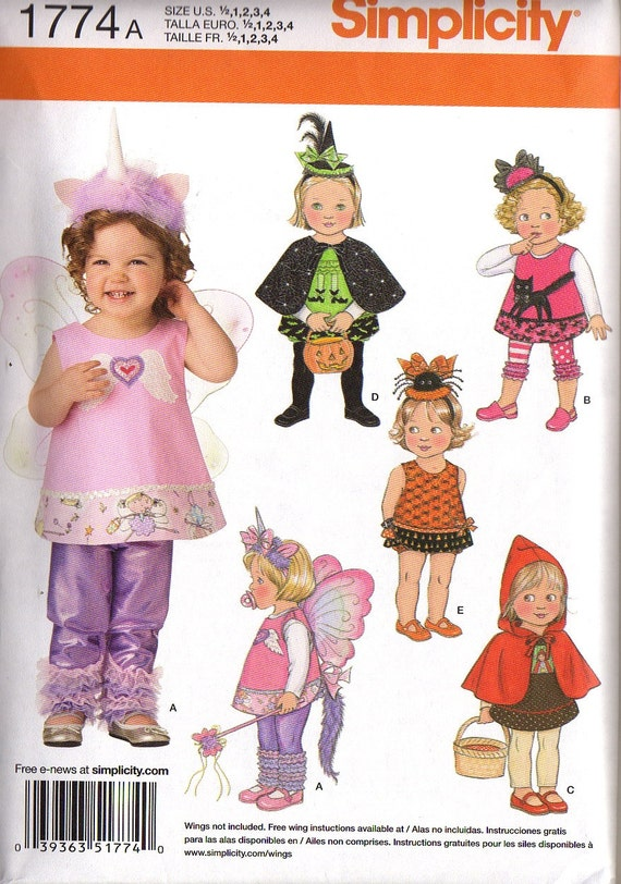 BABY or TODDLER''S Costume HALLOWEEN  - Fairy Unicorn, Little Witch, Spidie, Red Riding Hood, ailes de fée - Simplicity 1774 A  New