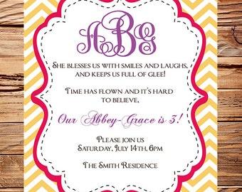 Birthday Party Invitation, Girl, Birthday, Pink, Purple, Yellow, Chevron Stripes, Girl, Boy, Digital, 155