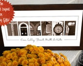 Personalized Holiday Gift, Photo Letter Art Name Sign - 10x20 Modern Frame, Sepia Design