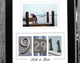 Custom Wedding / Anniversary Gift Alphabet Photography Number Frame - Colored Numbers in Black Frame - Personalized with YOUR photo
