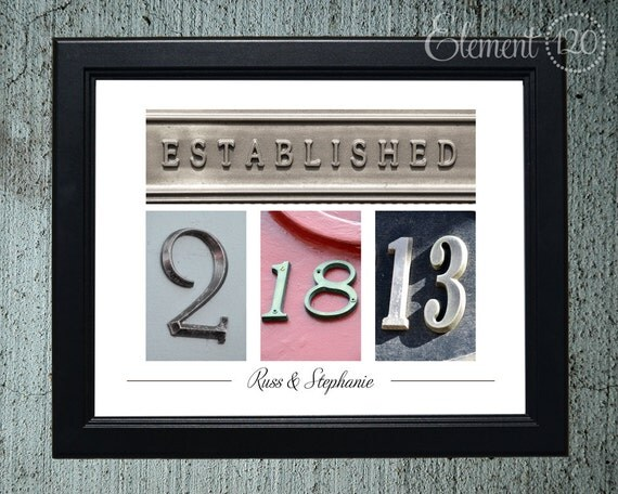 Unframed Number Photography - Wedding Date Colored Numbers, Personalized Wedding or Anniversary Gift Idea, 11x14 Print
