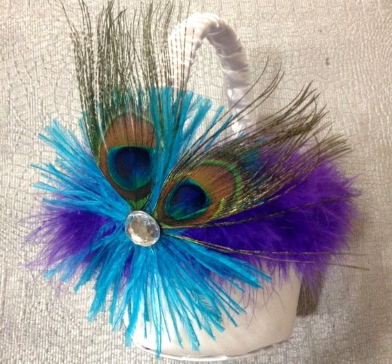 PEACOCK FEATHER  Flower Girl Basket - Crystal BLING Ostrich Feathers Purple Turquoise Malibu Teal White Flowergirl Satin Wedding Baskets