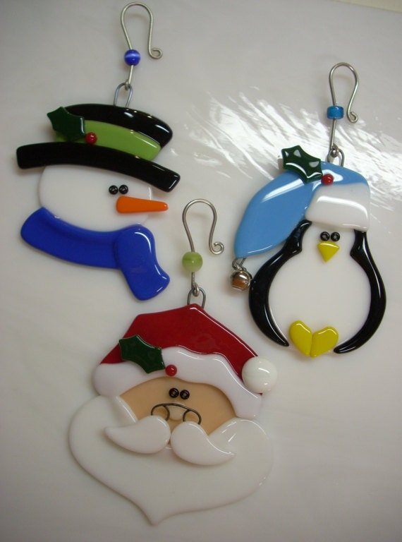 Fused glass christmas ornament sets penguin santa snowman