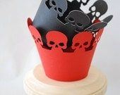 Halloween Skull Cupcake Wrappers Set of 12  By Your Little Cupcake