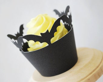 Halloween Bats Cupcake Wrappers Set of 12  By Your Little Cupcake