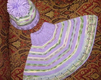 Capelet and Hat - Toddler Size 2 to 4 - Baby Toddler Poncho and Hat - Soft Hand Knit Lavender Green Toddler Baby Sweater -  Item 3021