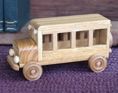 Reclaimed Wooden Toy Bus for Children Kids Boys Eco friendly Car Natural Unpainted Organic