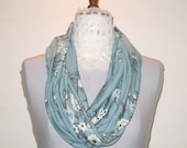 Infinity scarf - light blue with white floral design, cowl, accessory