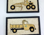 Vintage Gravel Art Yellow Grader and Dump Truck Folk Art