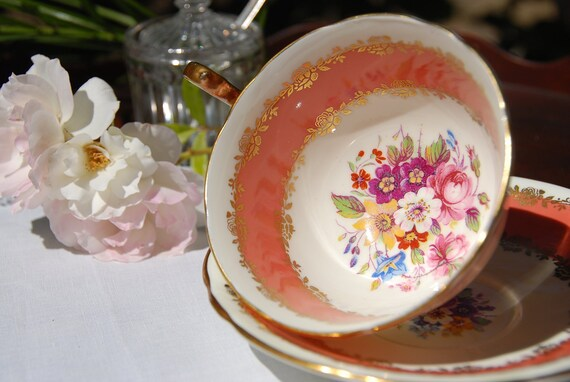 Beautiful Aynsley Tea Cup and Saucer, Pink/Salmon, Multi Floral, Gilt,  England