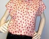 Vintage  70's Pink Ruffle Collar-Paisley Print TOP Shirt-M-L