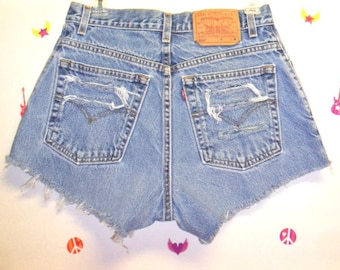 LEVIS Denim Shorts -Distressed-- Studded--- -Waist  28  inches