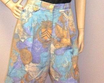 Vintage 80's Natty High Waisted  Nautical Theme Shorts -12