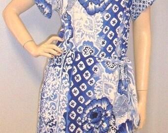 Vintage 90's Blue & White Darling Wrap Romper-Playsuit Size Large