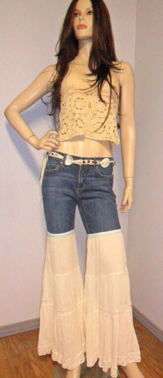 Juicy Couture- Reconstructed Custom HIPPIE Jeans--- Guazey & Crochet Bell Bottoms