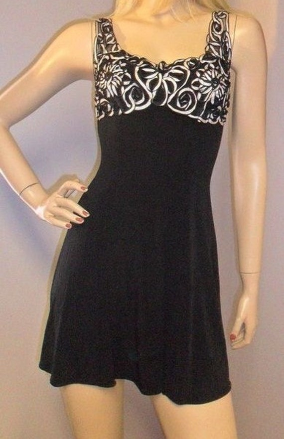 Vintage 80's Black & White Baby Doll Mini Dress- Sz S
