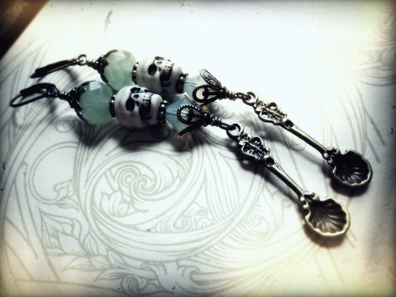 Absinthe Green Crystal Statement Earrings with Spoons and Skulls. Long Shoulder Duster earrings.