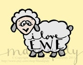 I Love Ewe - Color - 8x10 Illustrated Print by Mandipidy