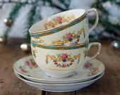East Meets West - Tea for Two - Set of Two Vintage Teacups and Saucers