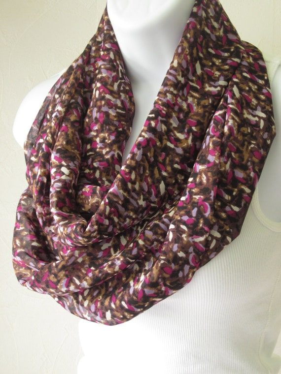 Infinity Scarf in Brown, Purple, Fuchsia and Cream Dappled Design  Double Length Eternity Scarf