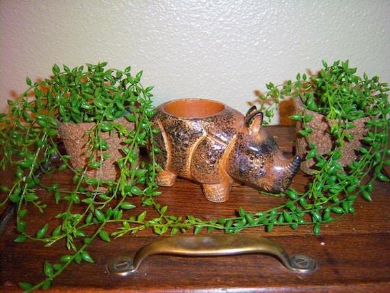 Brown Ceramic Rhino Votive Holder, 1960s- 50 % SALE