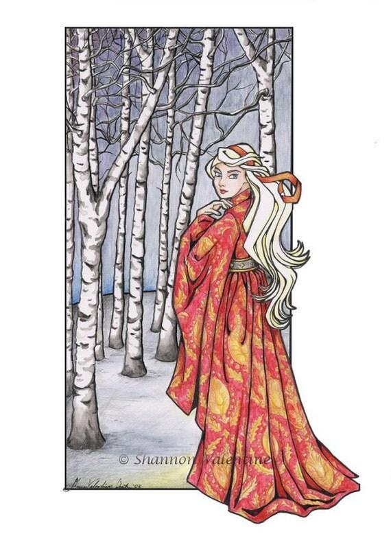 "Fantasy Medieval Art 8x10 Print ""Red Houppelande"" Open Edition"