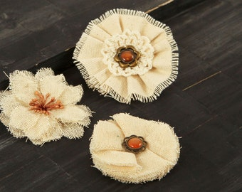NEW  Fabric Flowers -  AU Naturale G - 562700 -  Natural tan  linen and burlap  fabric flowers - vintage style