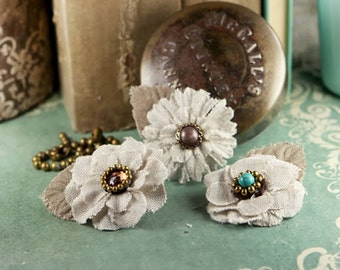 Flaxence collection  - Barley 552022  - natural linen fabric flowers  - centers embellished with a variety of exotic beads.
