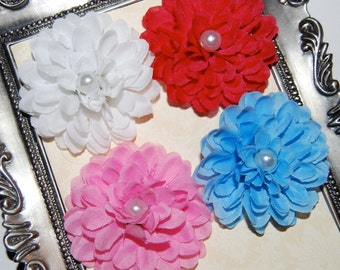 2''  fabric flower with pearl centers -   Amanda Collection  - 4 pieces  - one each of white - dark pink - blue  -  pink
