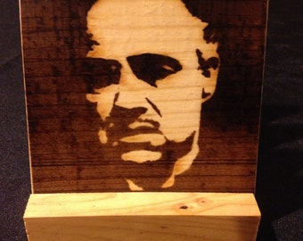 Godfather Coasters, Burned Image -If Desired Mix and Match 4 different designs       See Gomez Carvings Shop and add a note