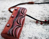 Makonde - ooak handmade clay pendant - Jewels of the World Collection