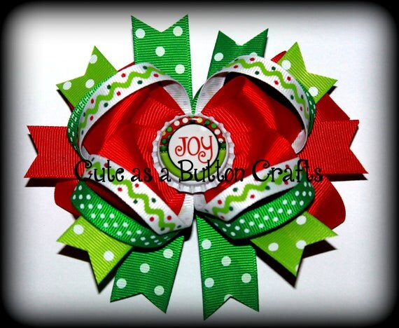 Christmas hair bow Perfect for The holiday season red white and green