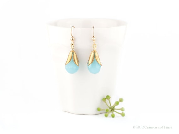 Gold filled Aqua blue chalcedony quartz teardrop earrings