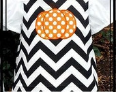 Girls Black Chevron Dress with Pumpkin Applique