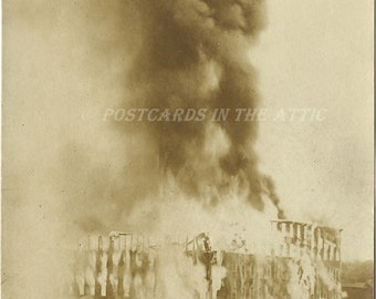 Photograph of Burning Building - Fire - Sepia - Disaster Vintage Real Photograph Postcard