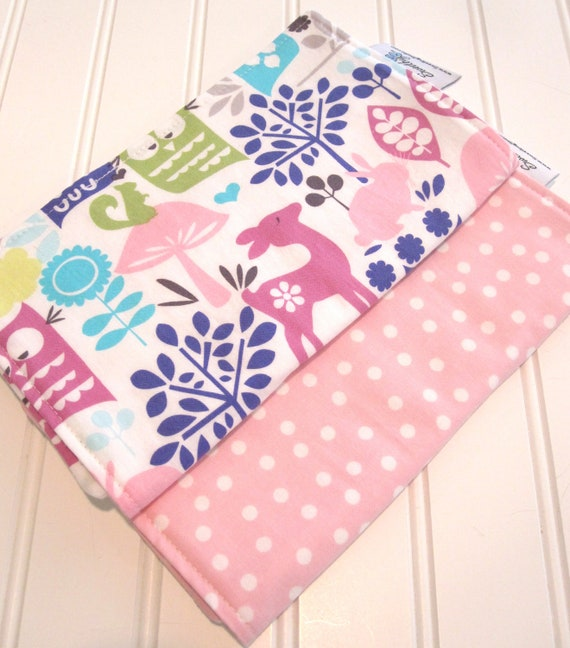 Burp Cloths/Forest Life/Double Flannel Backing in White/Set of Two