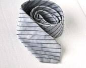 Gray Skinny Tie Vintage Mens Necktie Silver Grey w/Textured Black Stripe Eveteam