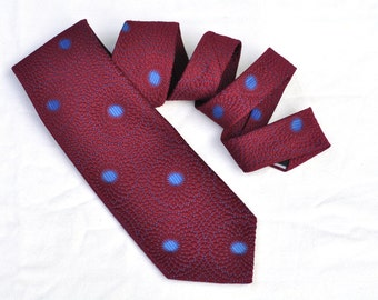Mens Wide Tie Vintage Burgundy & Bright Blue Retro Mod Floral Textured 70's Necktie Under 20 Dollars Gift for Men