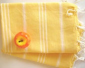 Set of  2 Turkish Hand Towel (Peshkir), Tea Towel, kitchen towel, head towel, baby towel, yellow, halloween