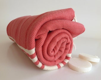 NATURAL Turkish Towel, Peshtemal, BATH and beauty, Hammam, Beach Towel, Natural Soft Cotton, For Mothers, Light Coral
